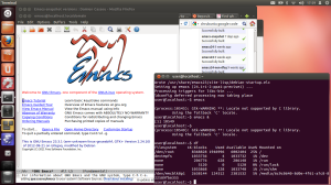 Emacs on chrubuntu with some disk usage stats in the corner.