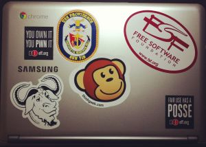Starting to geek out my Chromebook... A Creative Commons sticker would look nice in that blank spot.