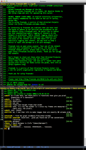 Using ERC inside of emacs.  This is the cyberpunk theme for Emacs 24.
