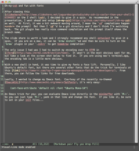 Emacs with Ubunto Mono 14