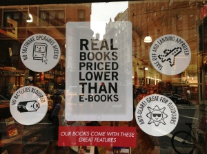 "Picture by Avi Solomon of The Strand Bookstore in NYC.  I do enjoying reading while Kindle owners put away their ""hazardous"" electronic devices."