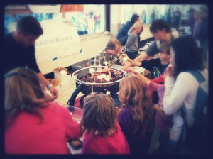 Making S'mores at NoCo Maker Faire.  Stuffnmallows put the chocolate IN the mallow!