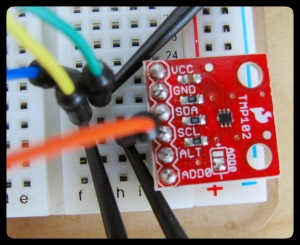 SparkFun's TMP102 Breakout board (with logic analyzer leads attached.)