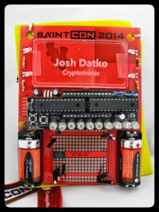 Completed badge with the blinky kit.
