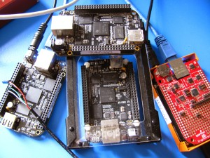 A pack of BeagleBones found in the wild found in a cluster formation.